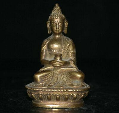 8.5cm Tibet Buddhism Brass lotus Seat Shakyamuni Amitabha Buddha Pot Statue