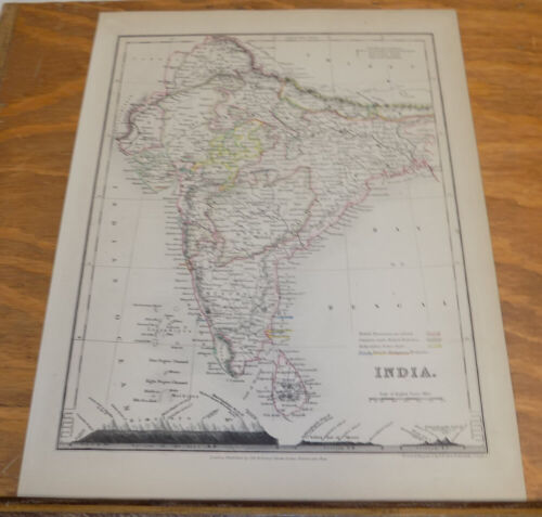 c1850 Antique COLOR Map///INDIA, published by Orr and Company