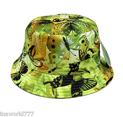 - Bucket hat Boonie cap Flower Floral cap Fishing Hunting Outdoor - Butterfly