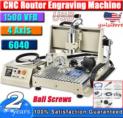 Usb 4 Axis Cnc 6040z Router Engraver Engraving Woodwork Drilling Miliing Machine