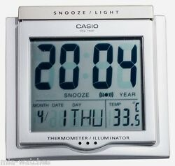 Casio DQ-750F-8D Digital Alarm Clock - Thermometer Snooze Calendar DQ-750 Silver