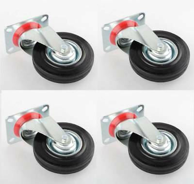 4 Pack 5 Swivel Casters Rubber Wheels Steel Top Plate Ball Bearings Heavy Duty
