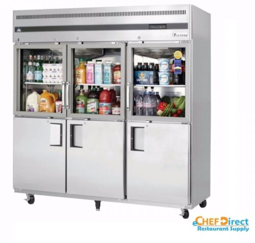 Everest Egsh6 Three Section Glass/solid Half Door Upright Reach-in Refrigerator