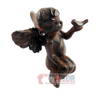 Rustic Cast Iron Sitting Winged Angel with Bird Cherub Garden Statue Figurine  ()