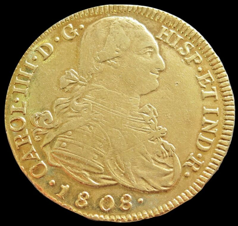 1808 P JF GOLD COLOMBIA 8 ESCUDOS CHARLES IV COIN POPAYAN MINT