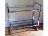 TWO TIER FREE STANDING GLASS SHELF UNIT IN GOOD CONDITION