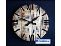 Reclaimed Pallet Wood Wall Clock 'Old Style' Art Industrial Rustic Shabby Chic