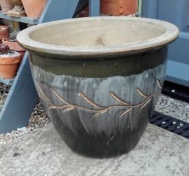 Large glazed grey plant pot
