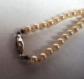 vintage sterling silver faux pearl choker
