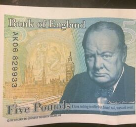 New £5 Polymer Notes with Rare Serial no's of AK02 & AK06.