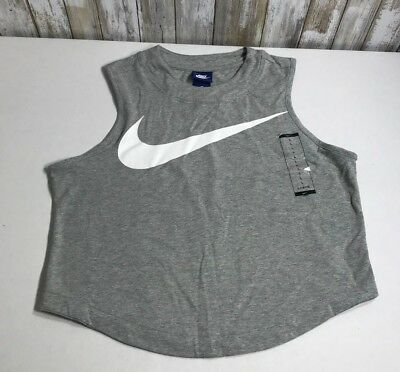 NIKE Womens Swoosh Logo Gray Graphic Cropped Workout Gym Tank Top Size Large NWT