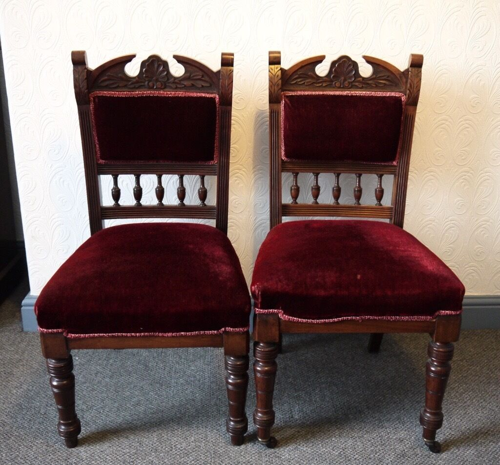 Pair of antique edwardian ornate carved mahogany dining