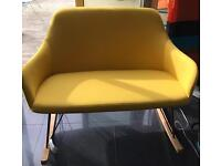 Unique in mustard fabric two seater rocker chair from Dwell