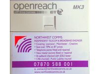 Telephone engineer Liverpool-Manchester-Cheshire 07870588001 ex bt open reach eng 30 yrs experience