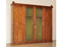 Large Antique Victorian Pitch Pine Glazed Four Door Display Gun Cabinet Bookcase