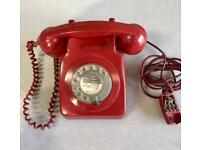 ORIGINAL VINTAGE GPO RED DIAL TELEPHONE[LOVELY PHONE]