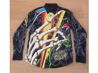 "Brand new Christian Audigier medium men's black ""Skull and Roses"" shirt. Decorated in rhinestones"