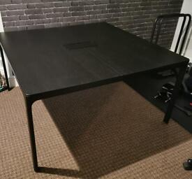 Large Square Black Wooden IKEA Desk / Table for Office or Home