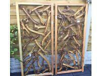 Pair Of Timber Hanging Wall Arts, Boxed.