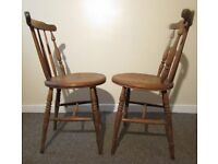 Set 2 farmhouse Victorian Antique round seat chairs spindle carved need restoration shabby chic proj