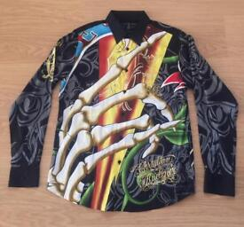"Brand new Christian Audigier medium men's black ""Skull and Roses"" shirt. Decorated in rhinestones"