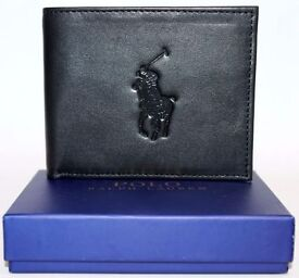 RALPH LAUREN WALLET BLACK LARGE HORSE - POST ANYWHERE IN THE UK £3 EXTRA