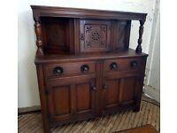 Vintage Old Family Colonial Court Sideboard Dresser Dark Solid Wood Side Board