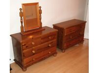 2 x Pine Chest of Drawers Plus Mirror