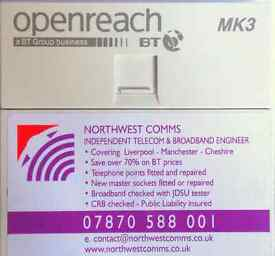 telephone engineer -liverpool-cheshire -manchester ex bt engineer save 70% on bt /open reach prices.