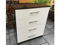 Chest Of Four Drawers - High Gloss Black / White - Unused.