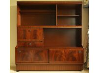 FREE Bookshelf / Display Unit with Sliding Doors, Hinged Door and Draw Walnut Veneer