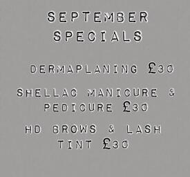 September beauty. Dermaplaning, tanning, HD brows, shellac