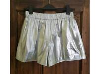 Collection of ladies genuine leather shorts in silver