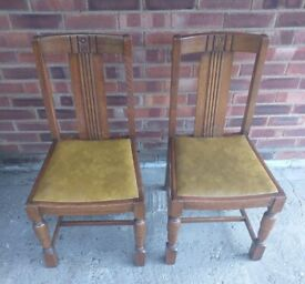 2 1940s~~1950s OAK DINING CHAIRS