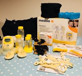 Medela freestyle double pump with extras