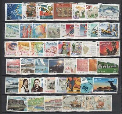Iceland 1989 - 1999 Page of MNH Sets, Part Sets, Singles CV $100.45