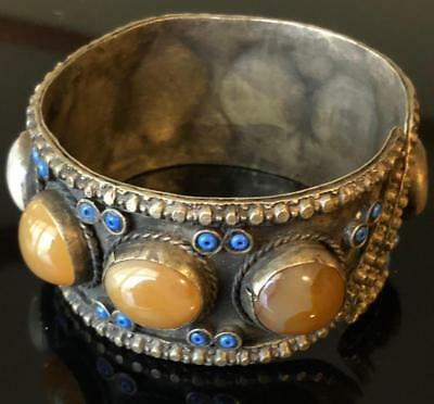 Tibetan Wide Cuff Antique Bracelet Multi Stone Tribal Chunky Large