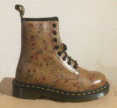 DR. MARTENS 1460 TAN LITTLE FLOWERS LEATHER BOOTS SIZE UK 3