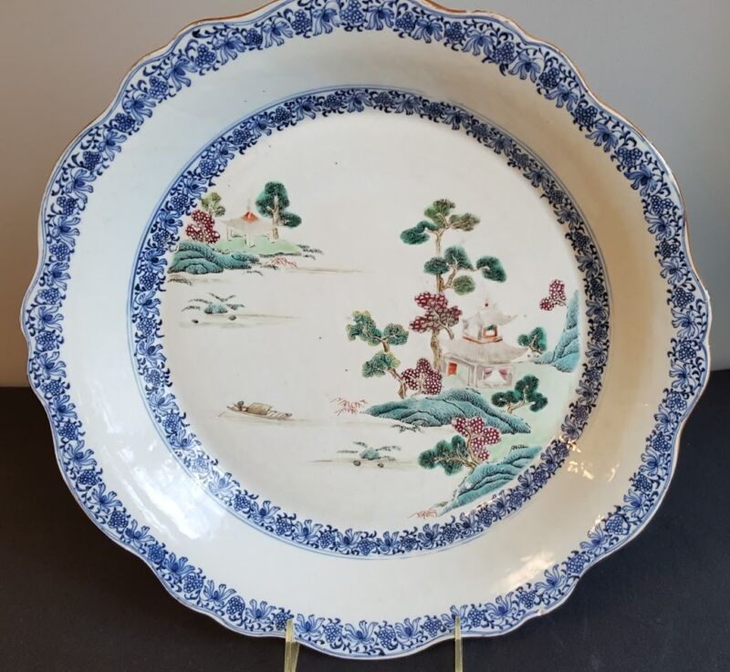 Fine Large Chinese Decorated Porcelain Charger 18th Century