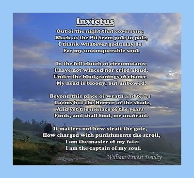 INVICTUS POEM BY WILLIAM HENLEY, LAMINATED