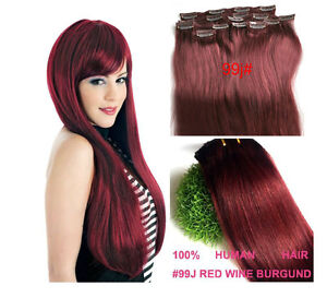Hot new AAA Grade★★ clip in real human hair extensions ★ black brown blonde red