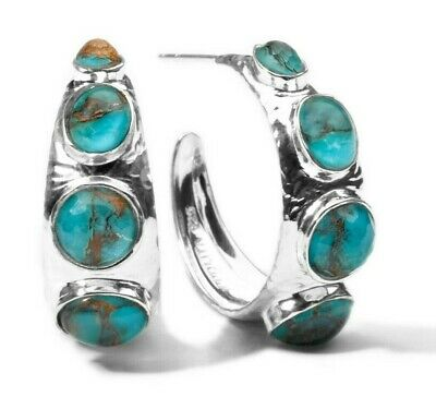 IPPOLITA 925 Sterling Silver Rock Candy Hoop Earrings Turquoise NEW $595