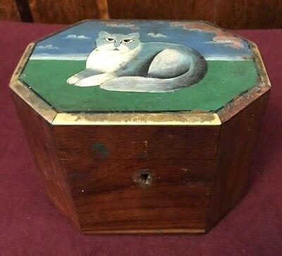RARE ANTIQUE EARLY VICTORIAN WOODEN  TEA CADDY OIL PAINTING OF A CAT ON LID