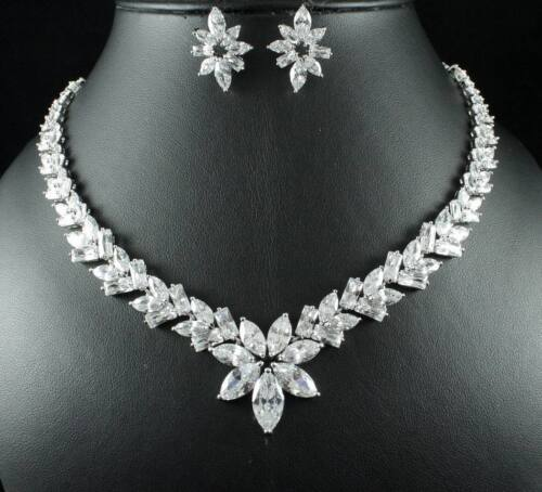 DIVINE CZ CUBIC ZIRCONIA CRYSTAL NECKLACE EARRINGS SET WEDDING PARTY CZ2205