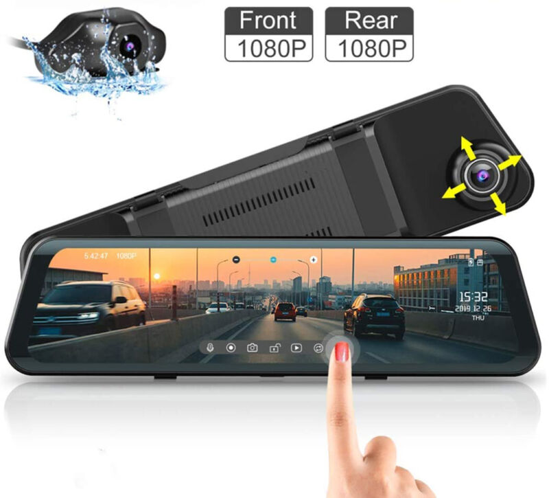 "12""1080P Dual Lens Car DVR AZDOME Dash Cam Video Camera Recorder Rearview Mirror"