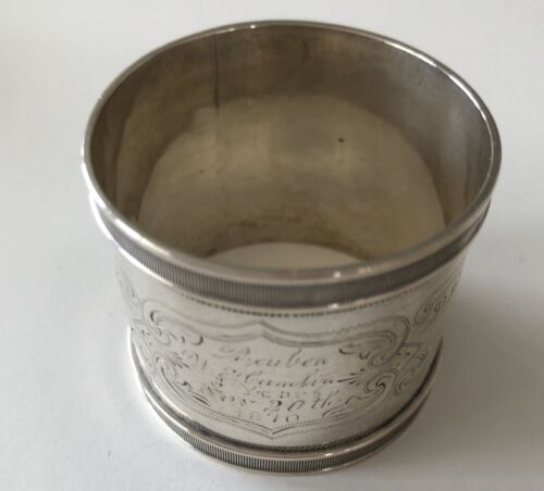 Antique 1870 Nov 20 Mono SILVER NAPKIN Ring Ornate 27gr Unmarked