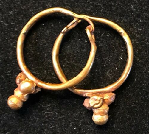 ANCIENT ROMAN-BYZANTINE PAIR OF HOOP GOLD EARRINGS w/ DECORATION! NICE!!!