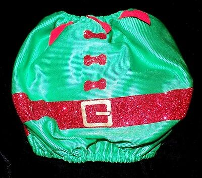 MALE FEMALE CHRISTMAS XS SMALL PUPPY DOG ELF COSTUME 1 PC SPARKLES RED BONES WOW