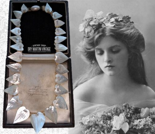 ANTIQUE EDWARDIAN CARVED MOTHER OF PEARL LOVE HEART NECKLACE BRIDAL PERFECT COND