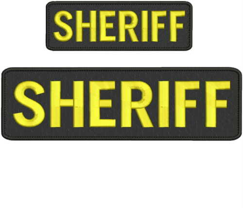 """Sheriff"" embroidery patch  3x10 and 2x6 inches hook gold"